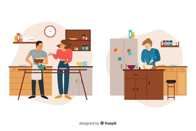 Colección dibujada a mano persona cocinando