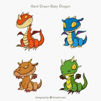 Colección dibujada a mano de personajes de dragones bebés