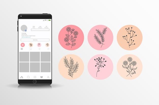 Colección dibujada a mano de reflejos florales de instagram