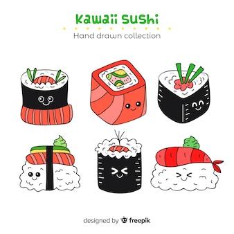 Colección dibujada a mano sushi kawaii