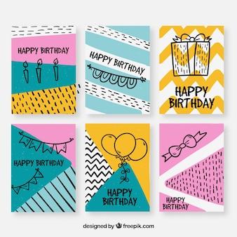 Colección dibujada a mano de tarjetas de cumpleaños