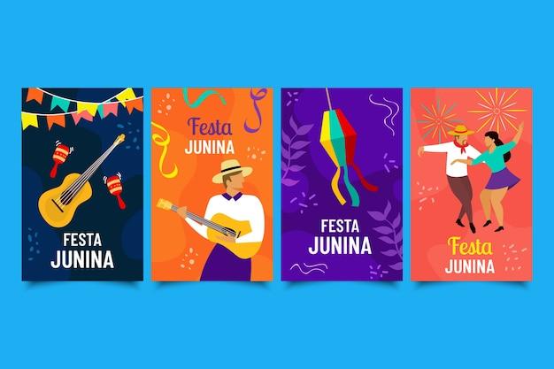 Colección dibujada a mano de tarjetas de festa junina