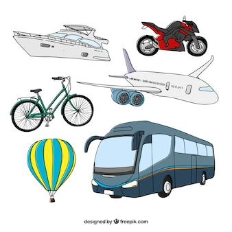 Colección dibujada a mano de transporte