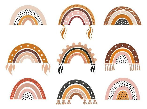 Colección dibujada a mano de vector para decoración de cuarto de niños con lindo arco iris de color pastel