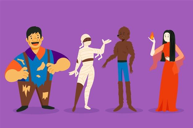 Colección dibujada de personajes de halloween