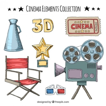 Colección de dibujado a mano elemento de cine