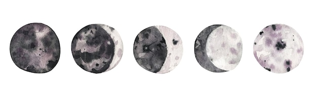 Colección de dibujado a mano de fases lunares en acuarela.