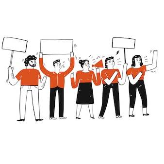 Colección de dibujado a mano un grupo de personas que hacen protesta.ilustraciones vectoriales en estilo de dibujo de bosquejo.