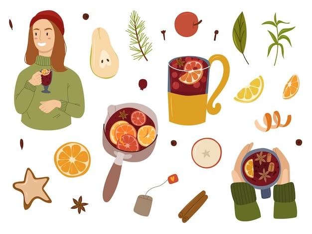 Colección de dibujado a mano de ingridients de vino caliente. elementos de diseño de bebidas calientes. yong, mujer, tenencia, caliente, rojo, wine., vector, caricatura, illustration.