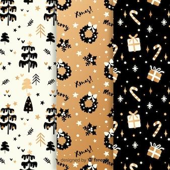 Colección de dibujado a mano patrón de navidad
