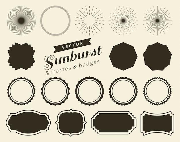 Colección de dibujado a mano retro sunburst
