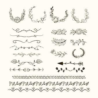 Colección dibujados a mano tipos de marcos y separadores.