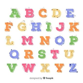 Colección de dibujo con alfabeto animal