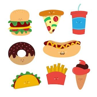 Colección de dibujo vectorial de comida chatarra