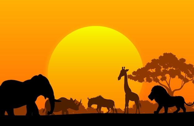 Colección de dibujos animados de animales en áfrica.
