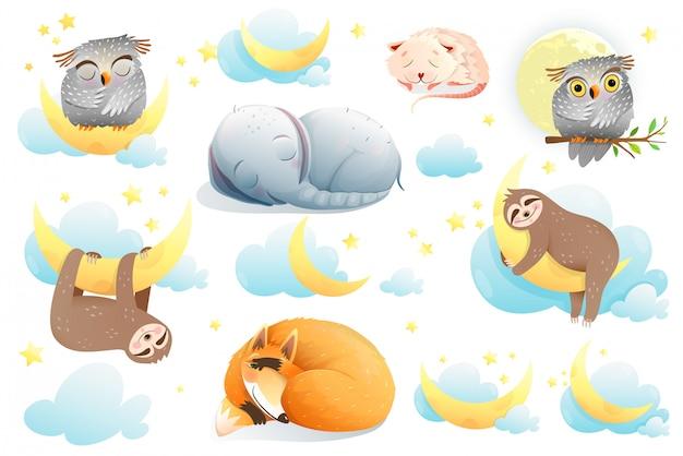Colección de dibujos animados de animales bebés, elefante lindo divertido, perezoso, zorro, búho, personajes de ratones soñando, imágenes prediseñadas aisladas para niños.