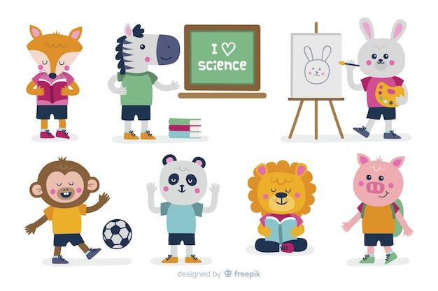 Colección de dibujos animados de animales en la escuela