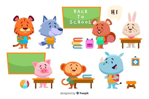 Colección de dibujos animados de animales de regreso a la escuela