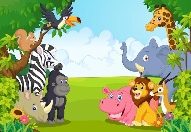 Colección de dibujos animados de animales en la selva.