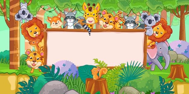 Colección de dibujos animados de animales con tablero en blanco y bosque tropical