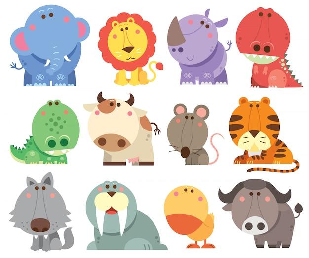 Colección de dibujos animados de animales