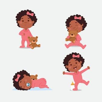 Colección de dibujos animados bebé negro