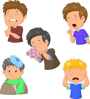 Colección de dibujos animados de chico enfermo