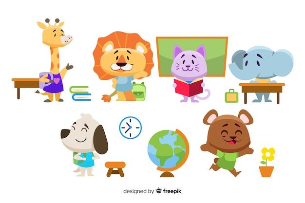 Colección de dibujos animados con concepto de regreso a la escuela