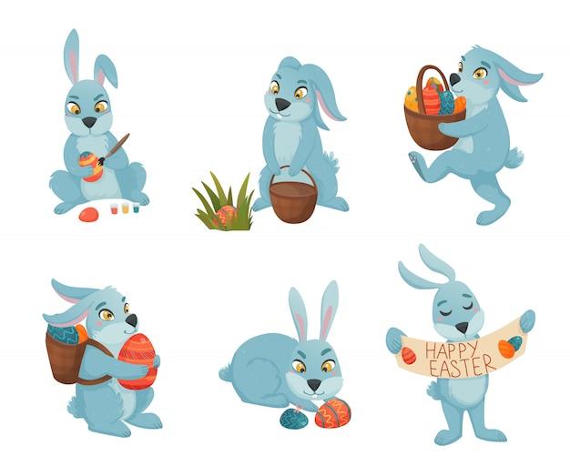 Colección de dibujos animados de conejitos de pascua