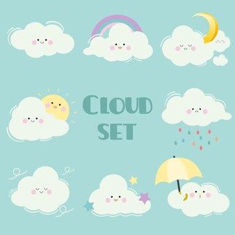 La colección de dibujos animados conjunto de nubes. el personaje de linda nube blanca con mucha emoción. la nube con sol y luna y estrella y arco iris y paraguas