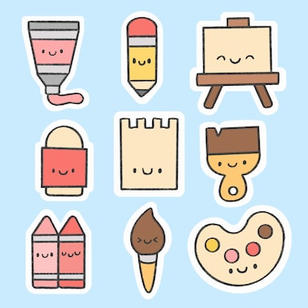 Colección de dibujos animados dibujados a mano de la etiqueta engomada de herramientas de arte