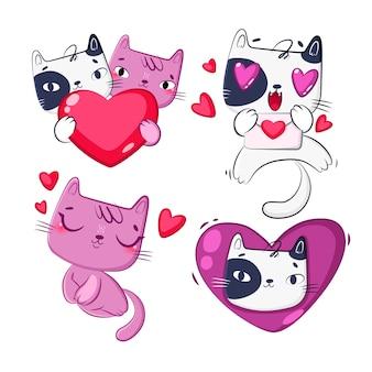 Colección de dibujos animados de gato en el amor