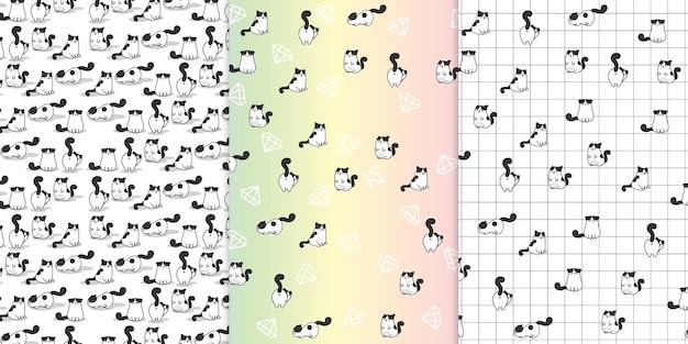 Colección de dibujos animados de gatos divertidos y juguetones en varias acciones en un patrón de vector premium aislado