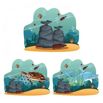 Colección de dibujos animados de limpieza del mar