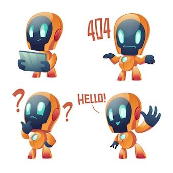 Colección de dibujos animados lindo chat bot