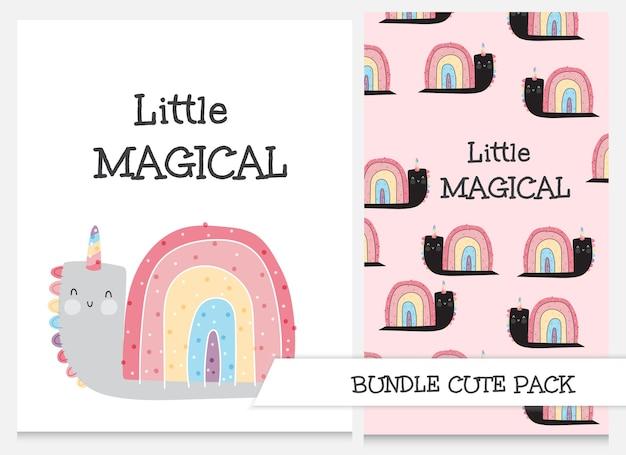 Colección de dibujos animados lindo conjunto de patrones de unicornio caracol plano