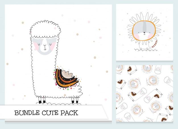 Colección de dibujos animados lindo ovejas planas, conjunto de patrones de león