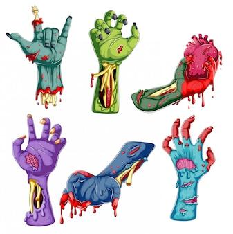 Colección de dibujos animados de manos zombie sobre fondo blanco