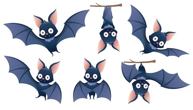 Colección de dibujos animados de murciélago de halloween colgando boca abajo de una rama