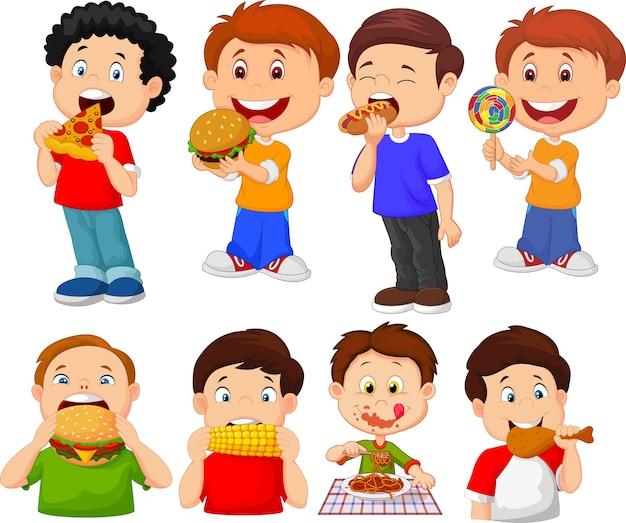 Colección de dibujos animados niño comiendo comida rápida