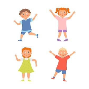 Colección de dibujos animados de niños felices aislado en blanco