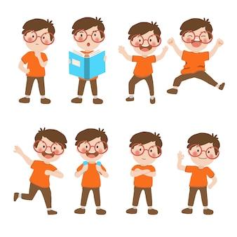 Colección de dibujos animados de niños felices.