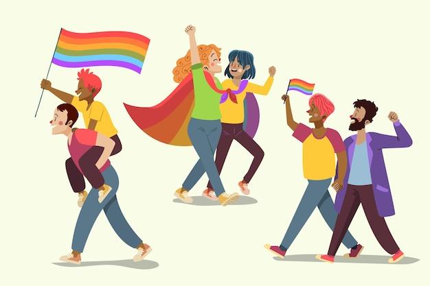 Colección de dibujos animados de pareja del día del orgullo
