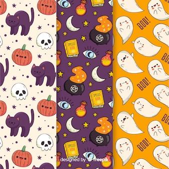 Colección de dibujos animados de patrones de halloween