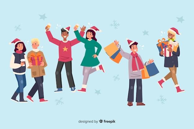 Colección de dibujos animados de personas celebrando la navidad
