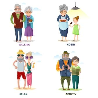 Colección de dibujos animados de personas mayores