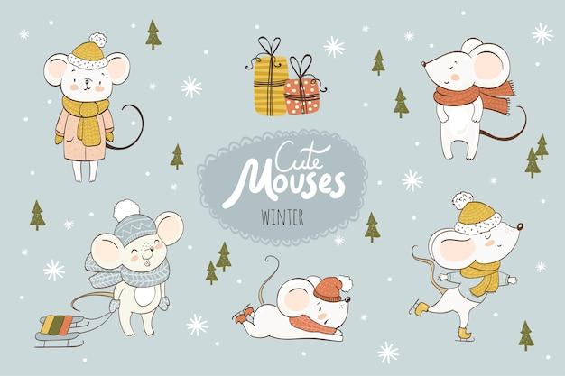 Colección de dibujos animados de ratones lindos. animales de invierno