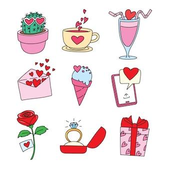 Colección de dibujos animados de san valentín