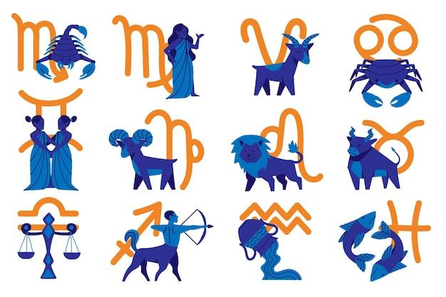 Colección de dibujos animados de signos del zodíaco