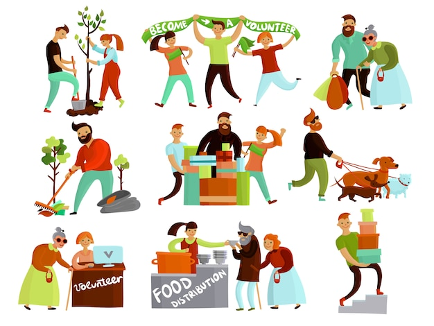 Colección de dibujos animados de situaciones de voluntariado.